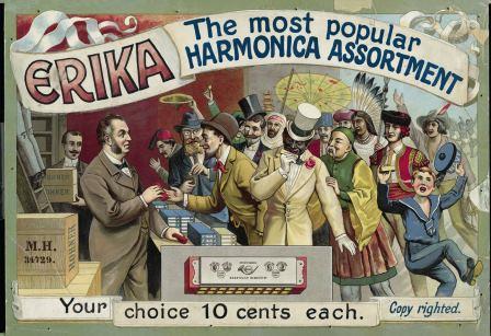 """""""Erika"""", Hohner advertising image, around 1900"""